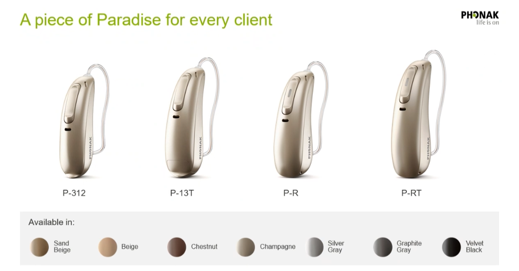 Phonak Paradise Styles and Colours